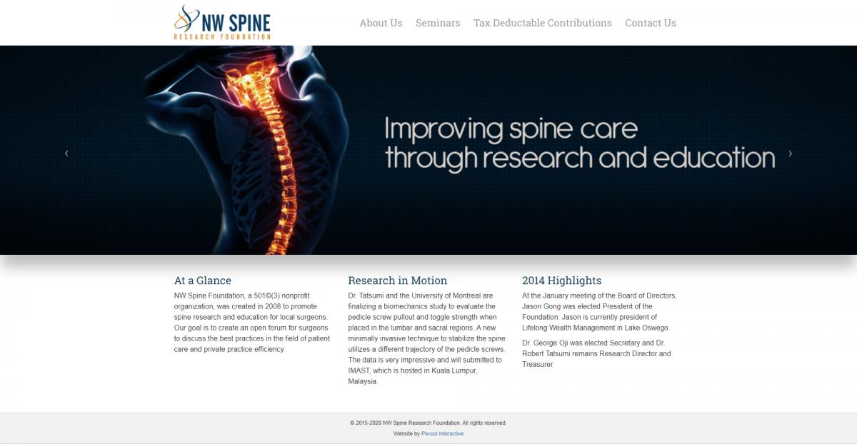 NW Spine Foundation Website Mockup