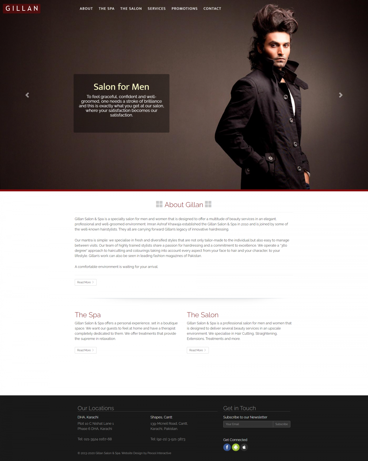 Gillan Salon & Spa Website Mockup