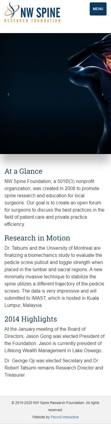 NW Spine Foundation Website Mobile Mockup 1