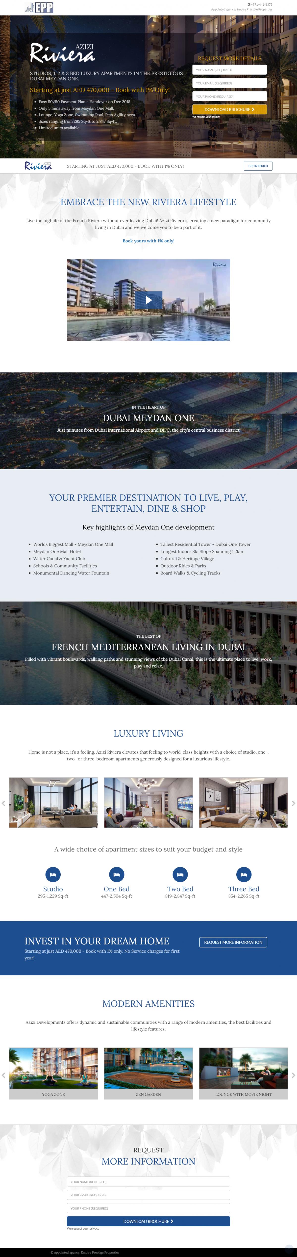 Azizi Riviera Website Mockup