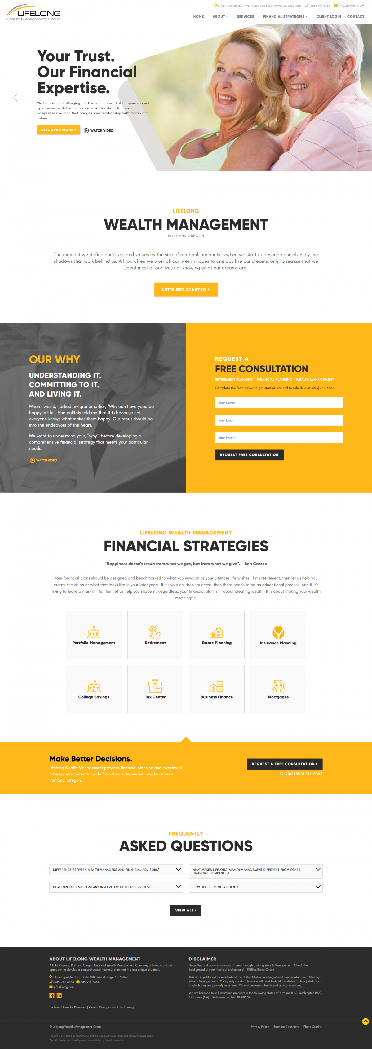 Lifelong Wealth Management Group Website Mockup
