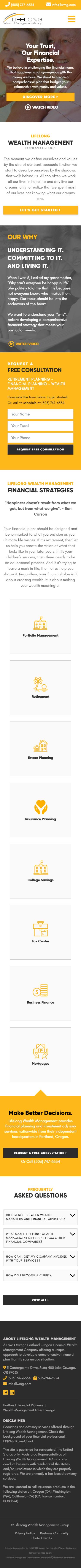 Lifelong Wealth Management Group Website Mobile Mockup 1