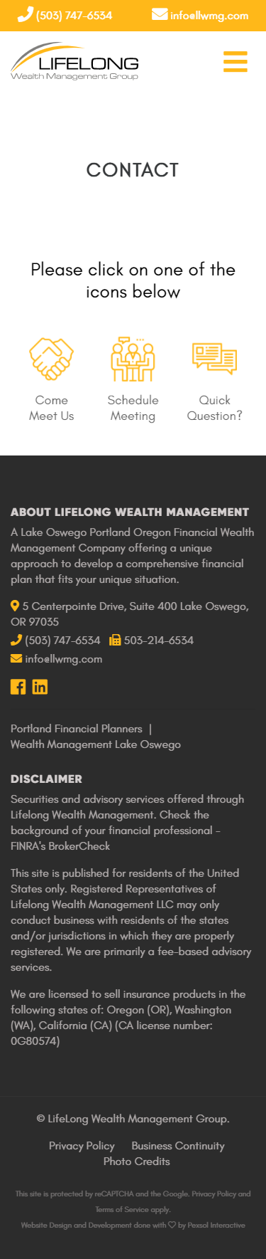 Lifelong Wealth Management Group Website Mobile Mockup 3