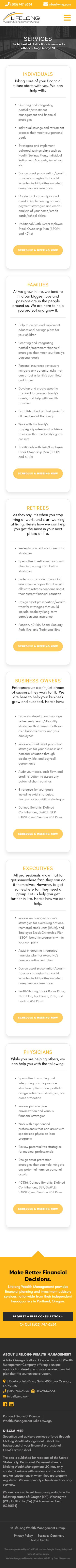 Lifelong Wealth Management Group Website Mobile Mockup 2