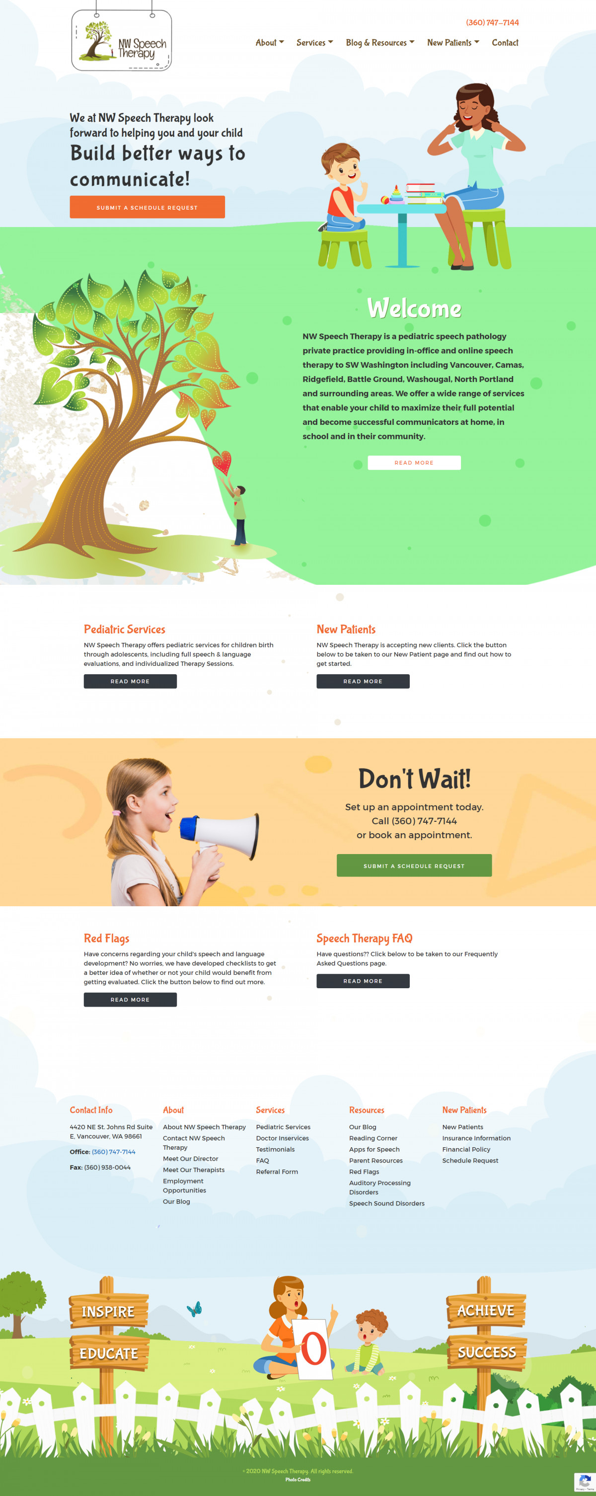 NW Speech Therapy Website Mockup