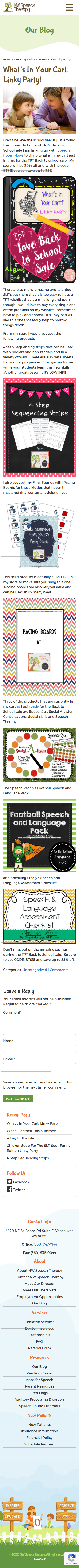 NW Speech Therapy Website Mobile Mockup 2