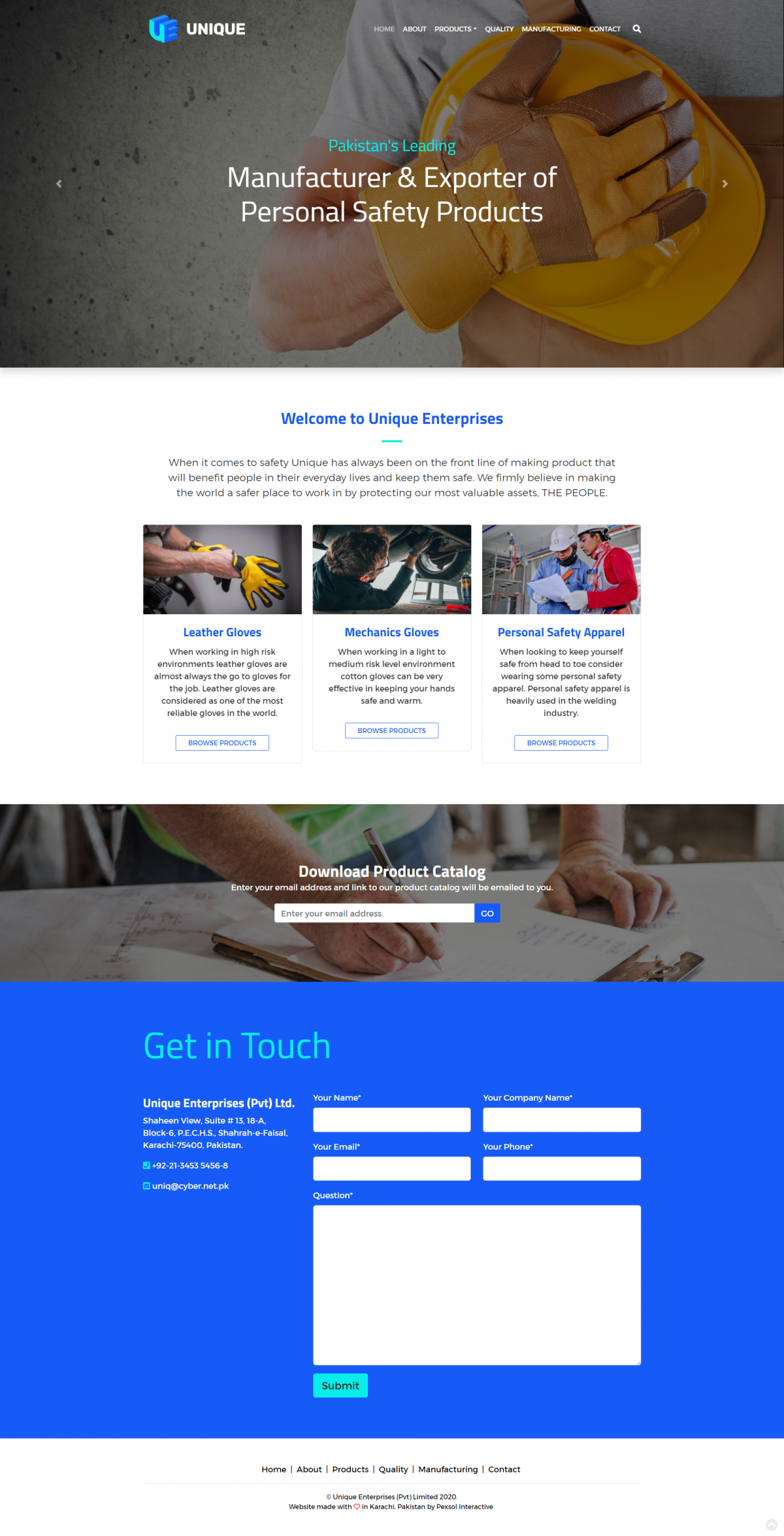 Unique Enterprises Website Mockup