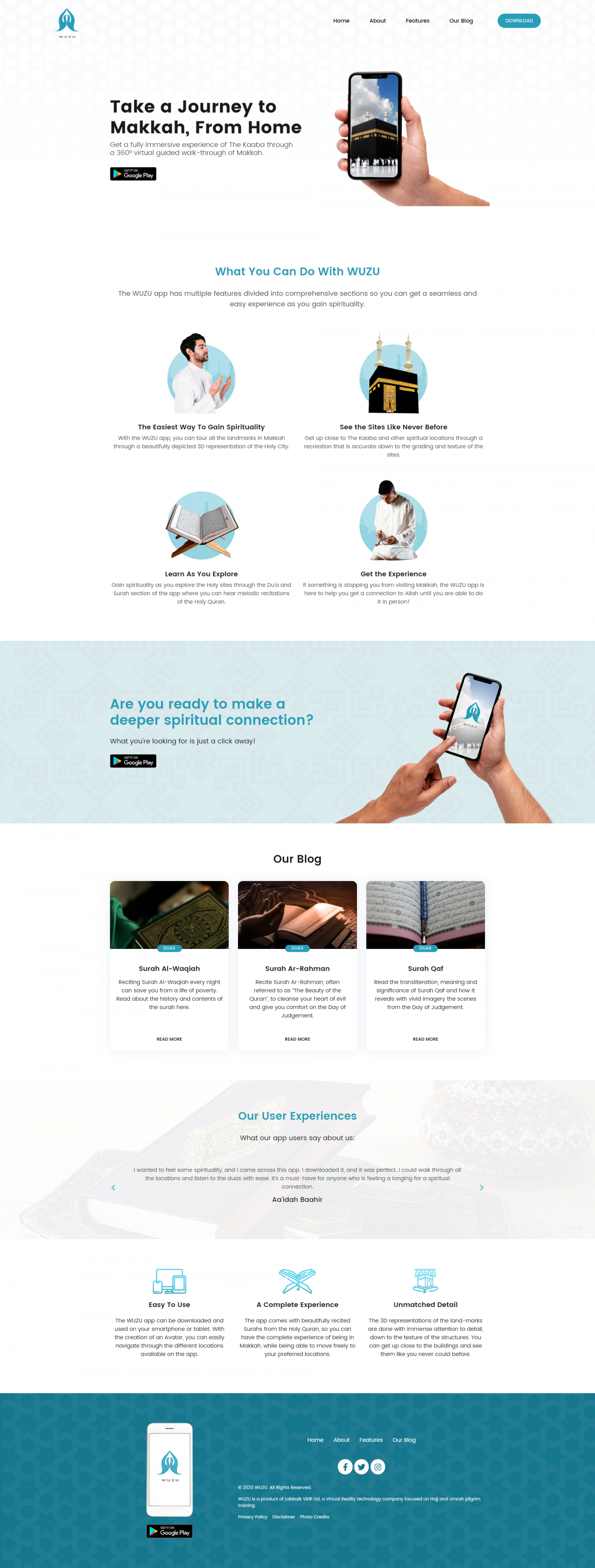 WUZU – Mobile Application Landing Page Website Mockup