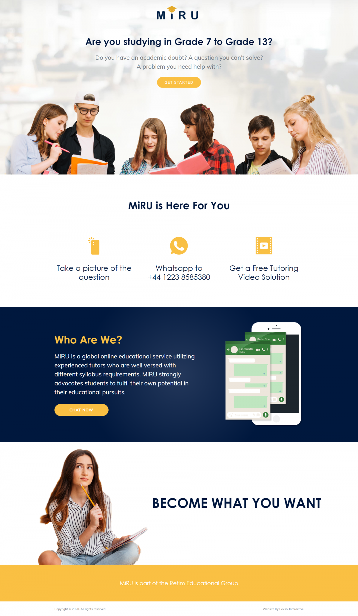 MiRU – A global online educational service Website Mockup