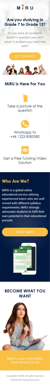 MiRU – A global online educational service Website Mobile Mockup 1