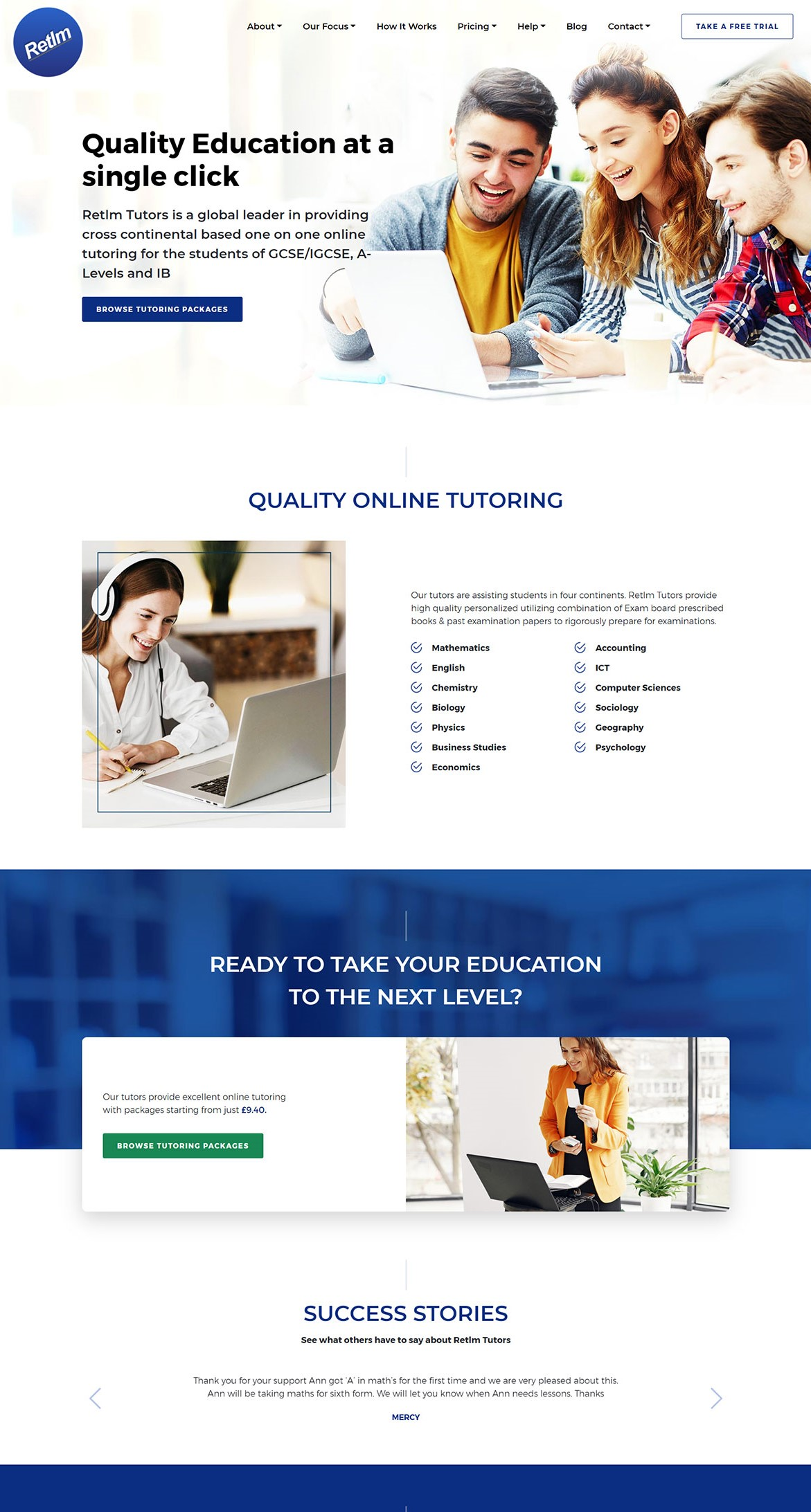 Retlm Tutors Website Mockup