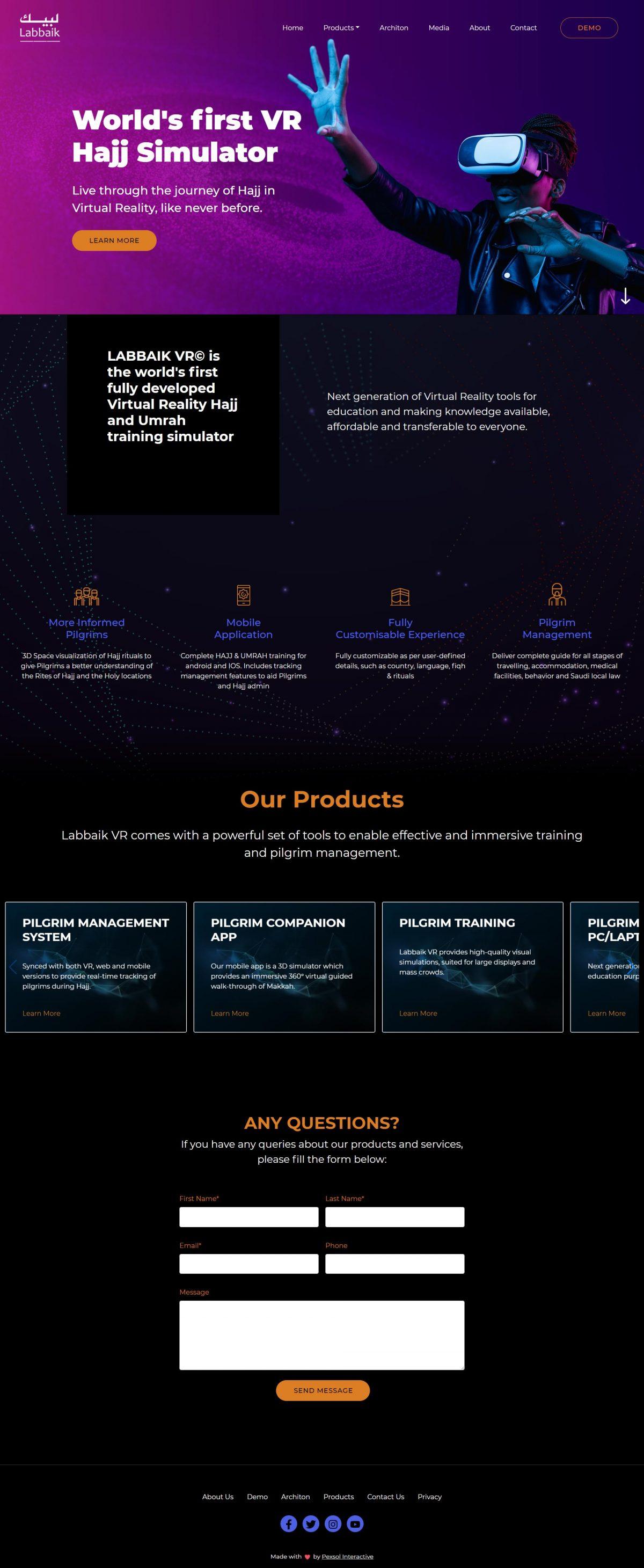 LabbaikVR Website Mockup